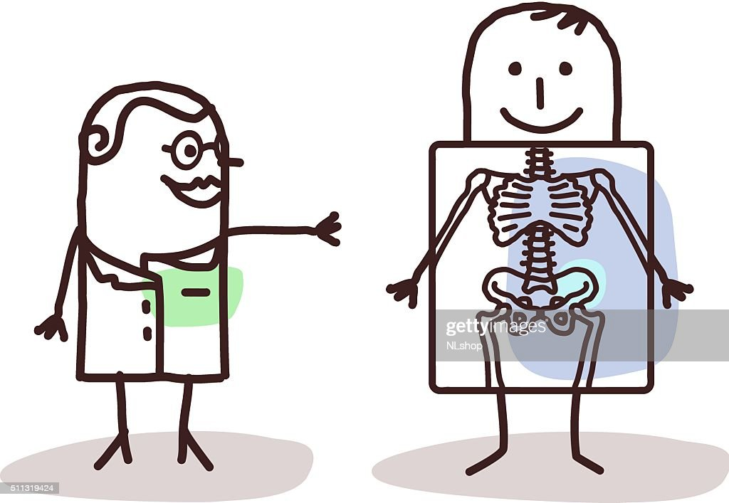 cartoon radiologist with patient