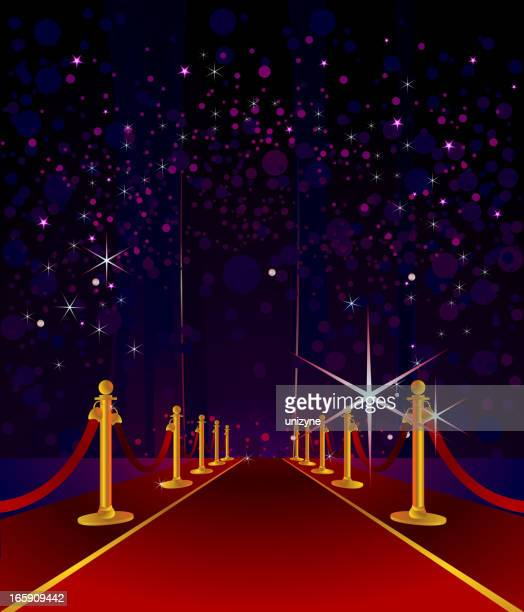 cartoon red carpet with stars in night sky background - red carpet event stock illustrations