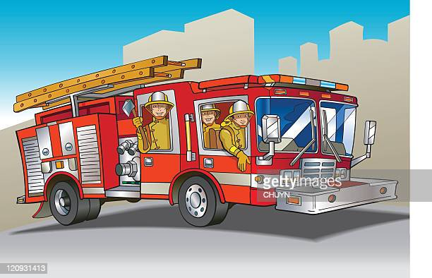 A cartoon red fire engine with crew