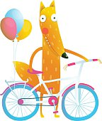 Cartoon red funny fox with bicycle and balloons