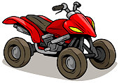 Cartoon red modern off road quad motorbike