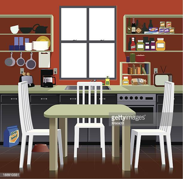 Cartoon representation of a kitchen