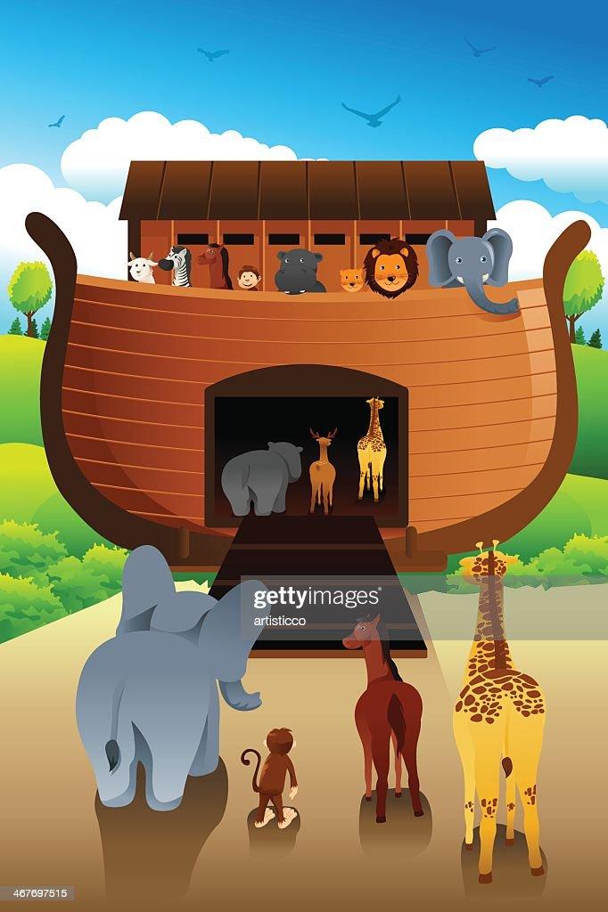 Cartoon representation of animals entering Noah's ark