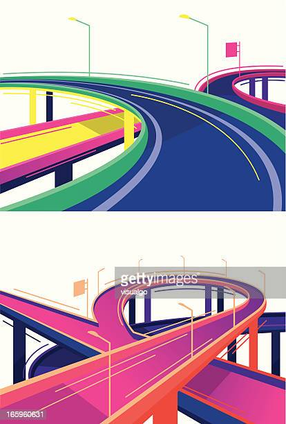 cartoon representation of colorful viaducts - overpass road stock illustrations