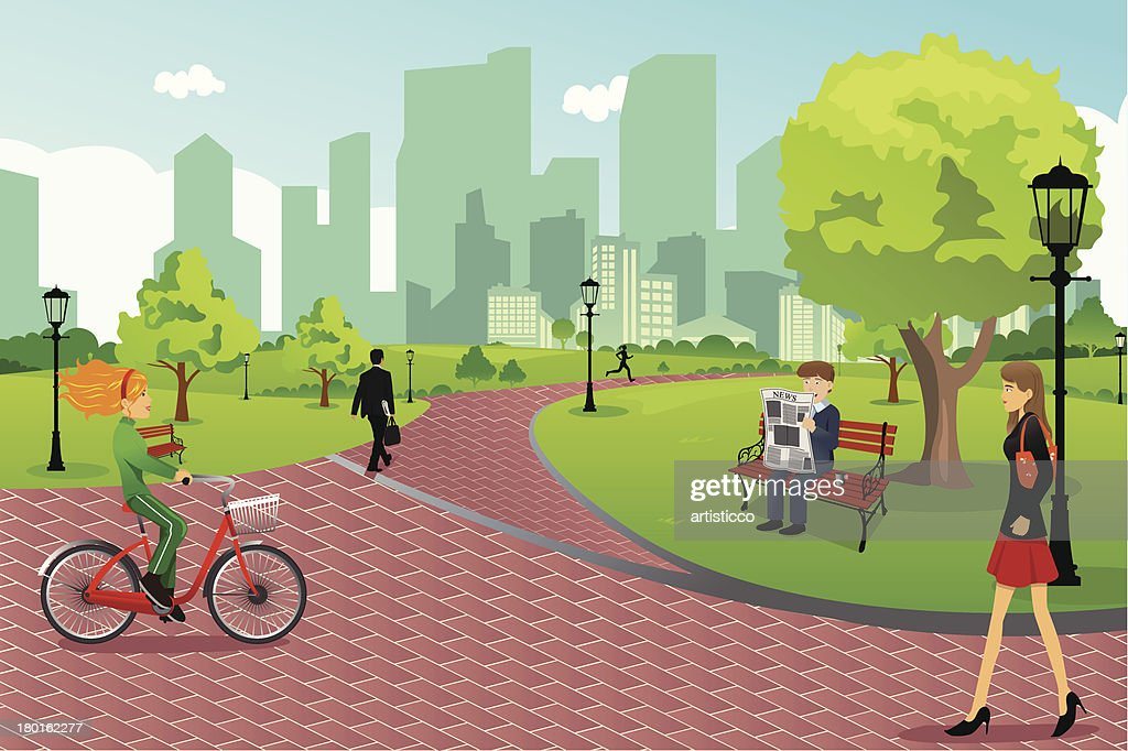 Cartoon representing people enjoying a day at the park