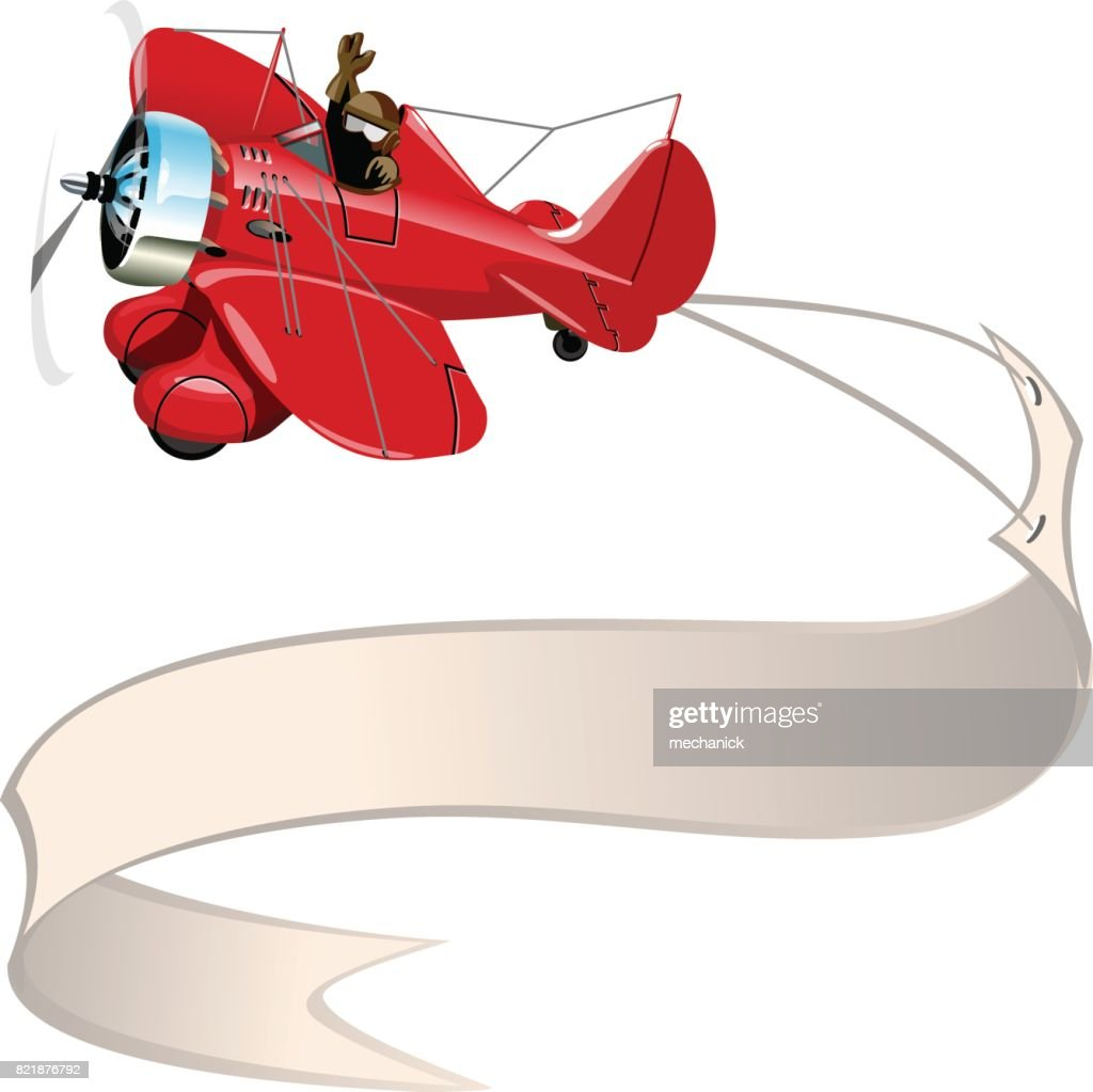Cartoon retro airplane with banner