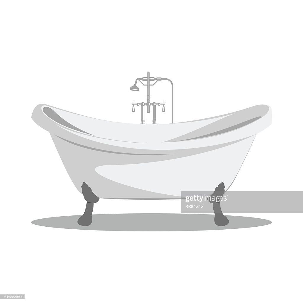 Cartoon retro bathtub icon. : Vector Art