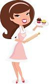 Cartoon Retro Pin Up Girl Baking Cupcakes