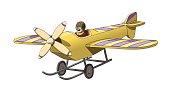 Cartoon Retro Vintage Pilot in his Plane. EPS-10 vector format