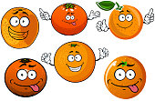 Cartoon ripe juicy orange fruits characters