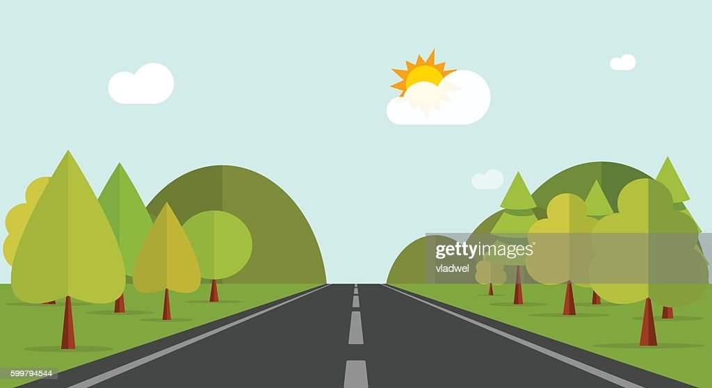 Cartoon road across green forest hills, mountains, nature landscape, highway