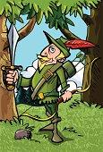 Cartoon Robin Hood in Sherwood forest