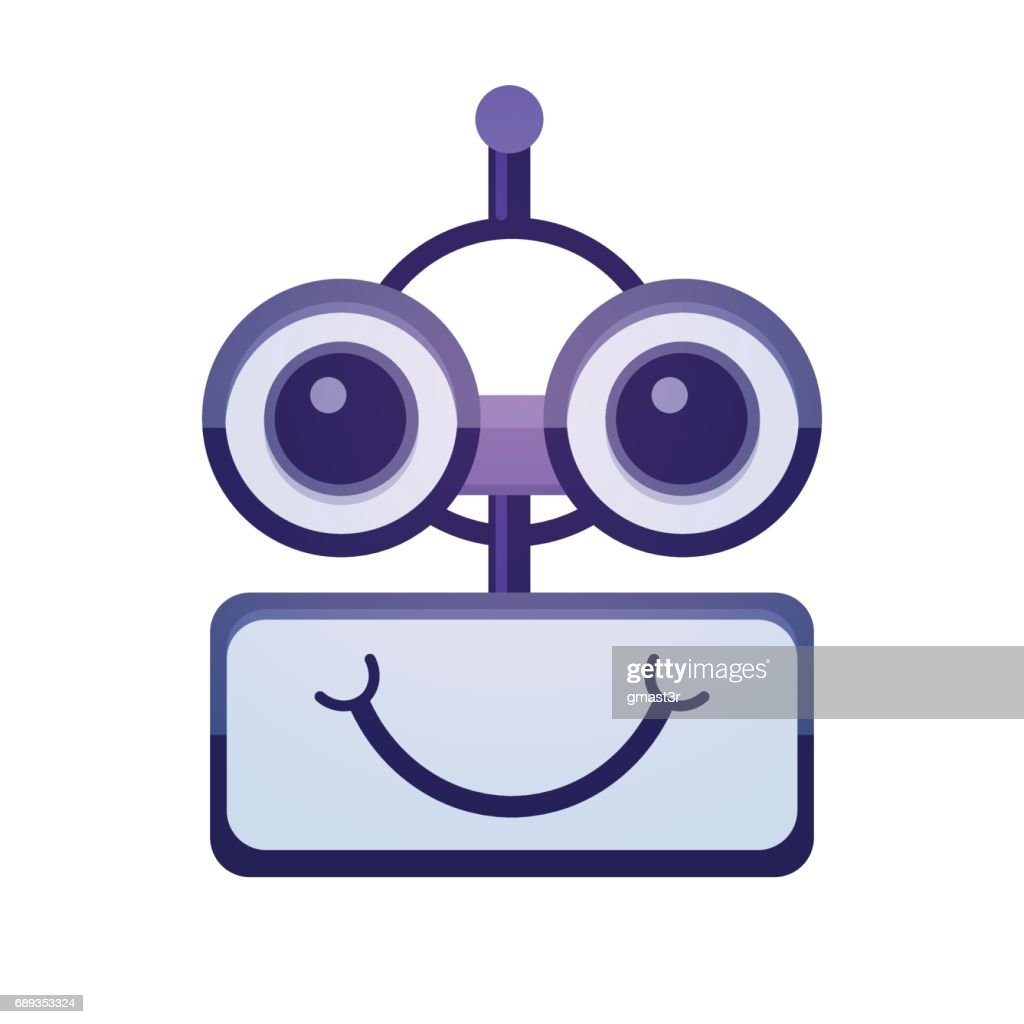 Cartoon Robot Face Smiling Cute Emotion Chat Bot Icon