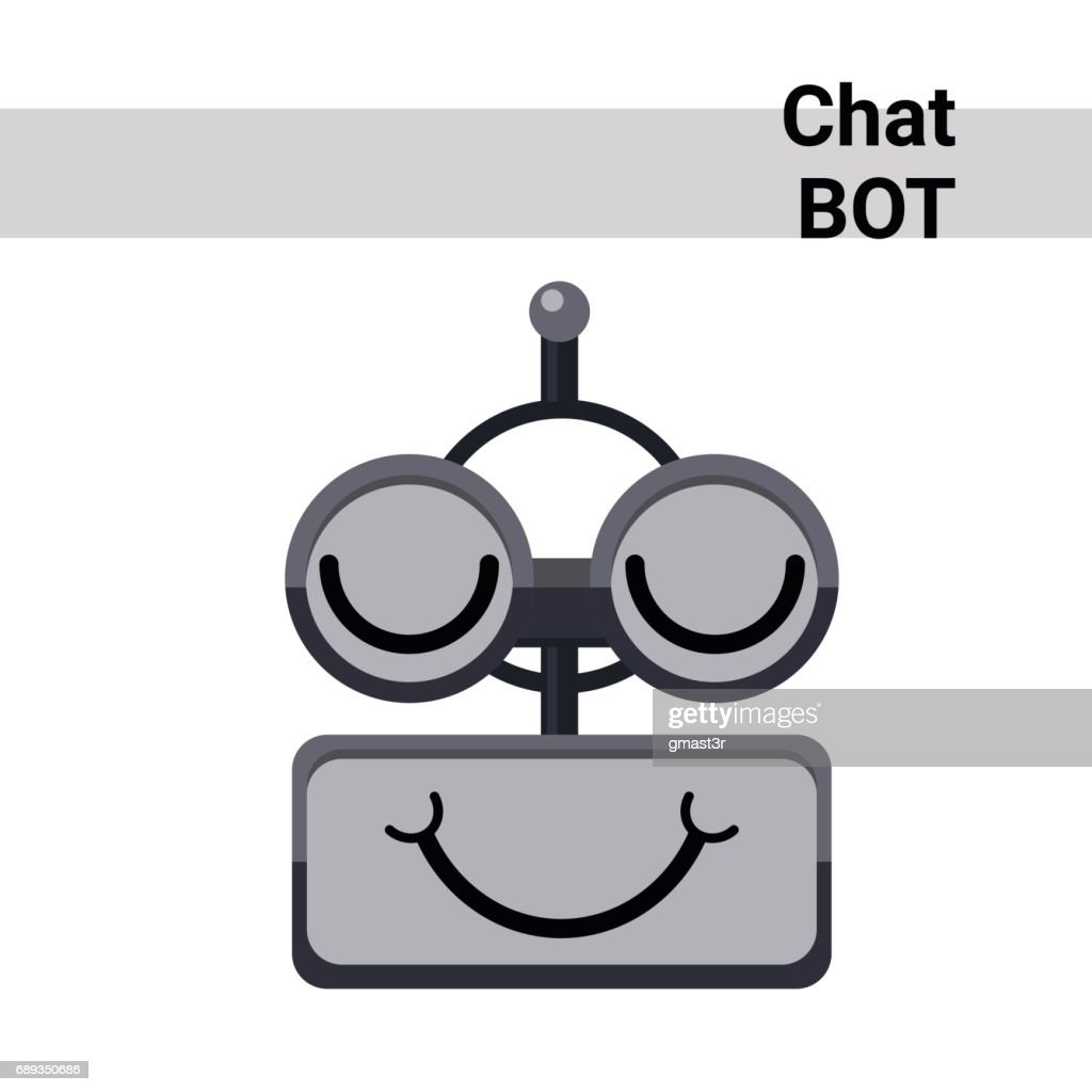 Cartoon Robot Face Smiling Cute Emotion Closed Eyes Chat Bot Icon