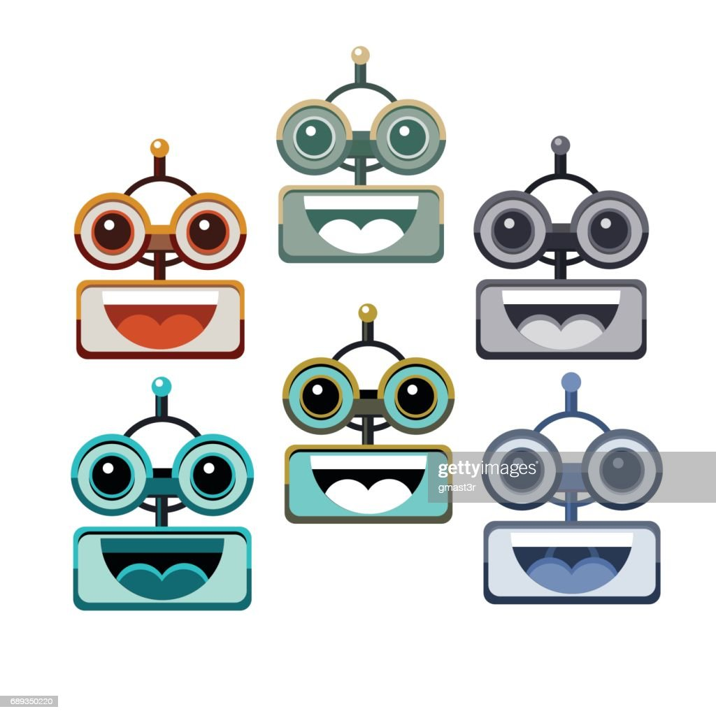 Cartoon Robot Face Smiling Cute Emotion Open Mouth Chat Bot Icon Set