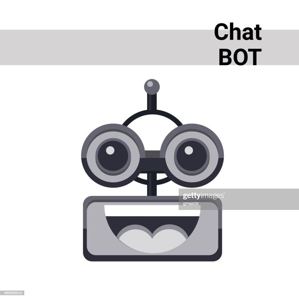 Cartoon Robot Face Smiling Cute Emotion Open Mouth Chat Bot Icon
