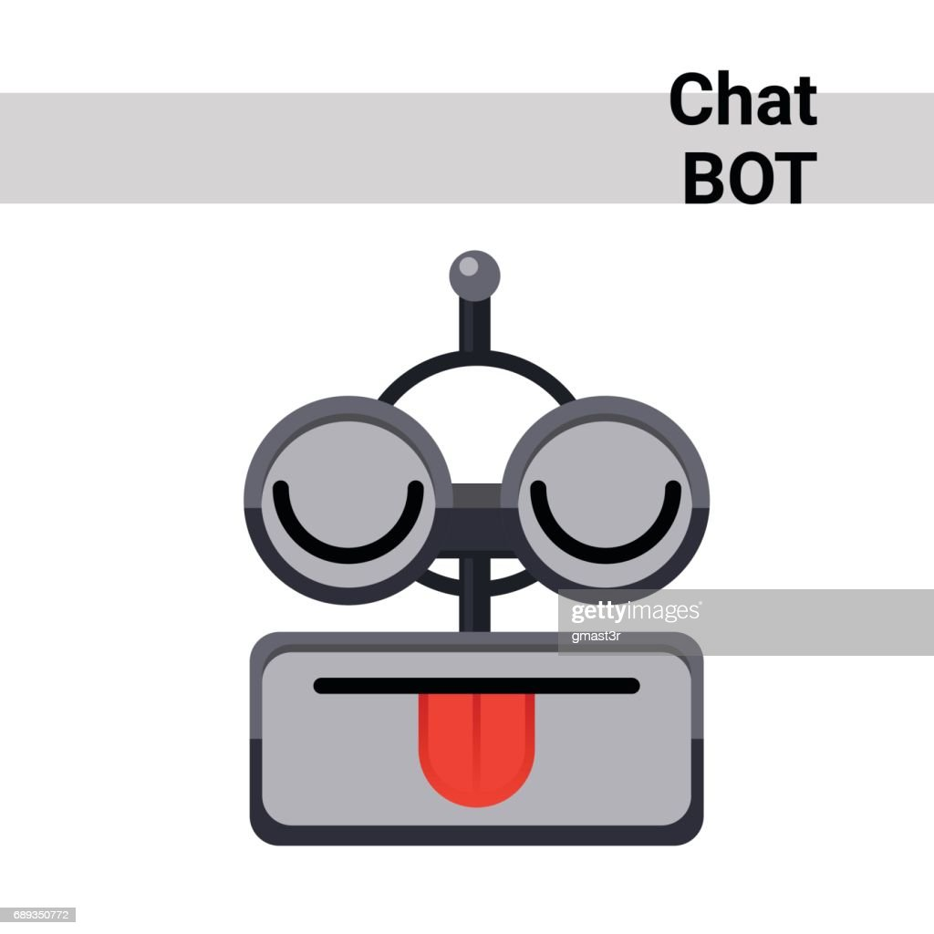 Cartoon Robot Face Smiling Cute Emotion Show Tongue Chat Bot Icon