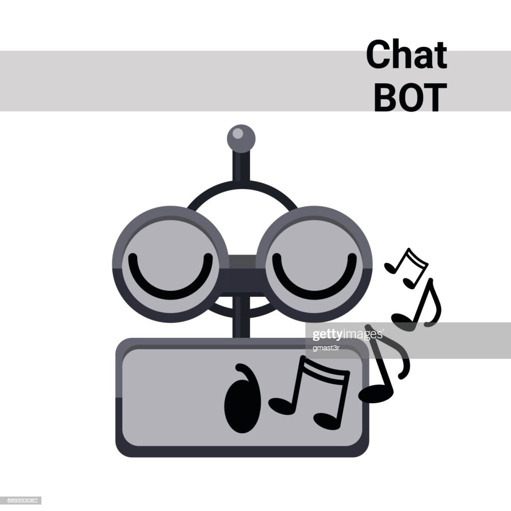 Cartoon Robot Face Smiling Cute Emotion Sing Chat Bot Icon
