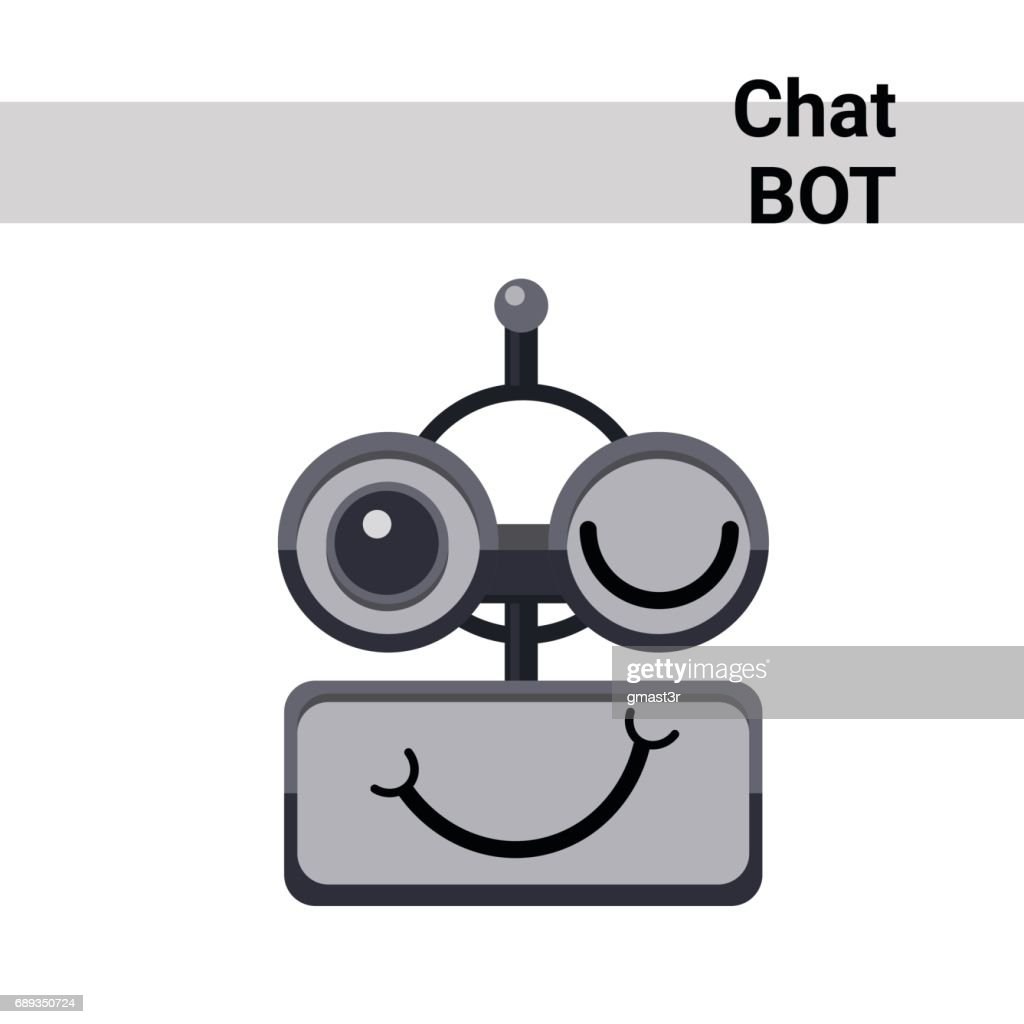 Cartoon Robot Face Smiling Cute Emotion Wink Chat Bot Icon
