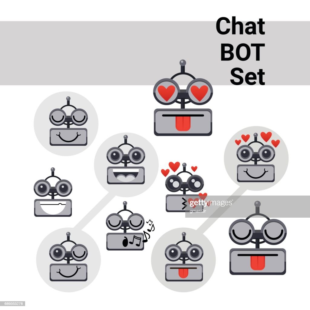 Cartoon Robot Face Smiling Cute Positive Emotion Chat Bot Icon Set