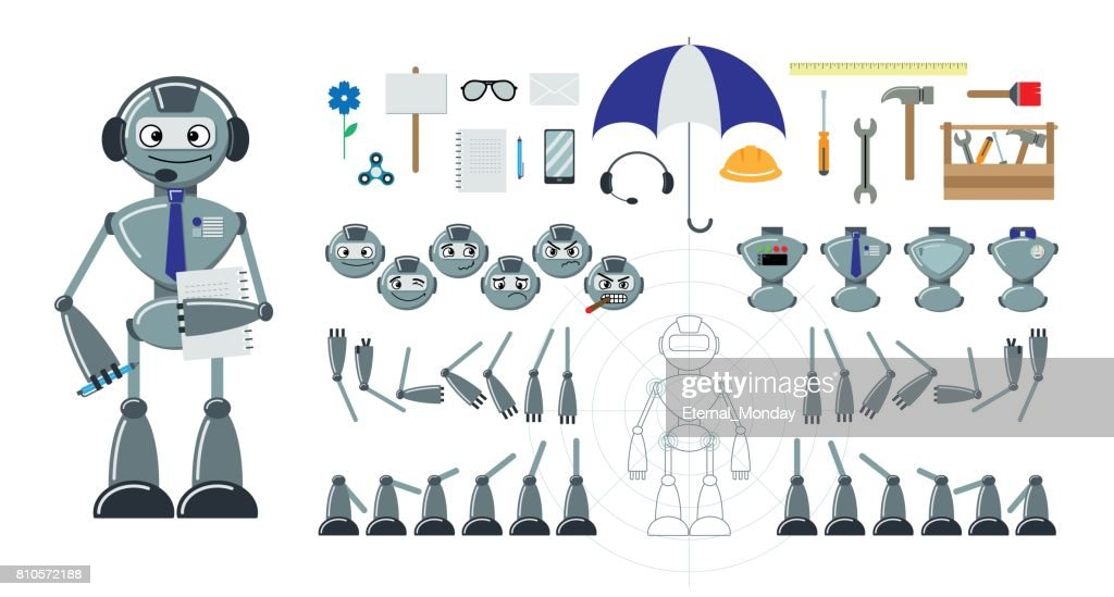 Cartoon robot flat constructor