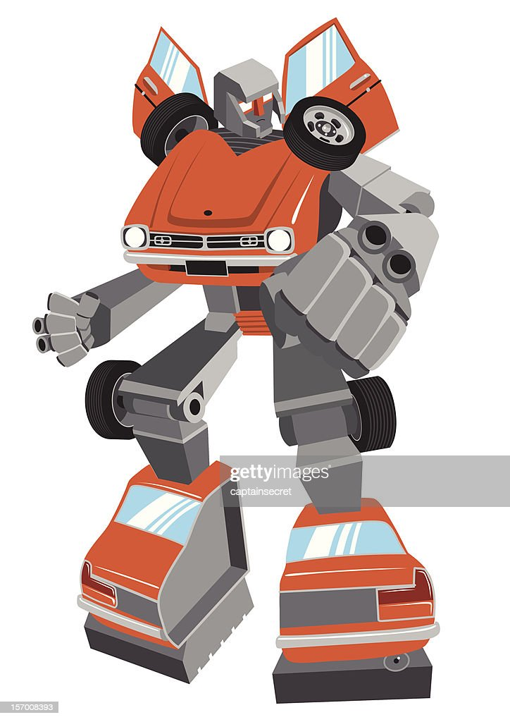 Cartoon robot made from vintage car, vector