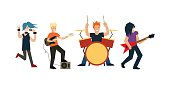 Cartoon Rock Band. Vector