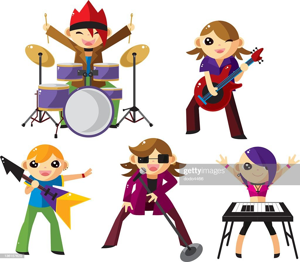 cartoon rock music band