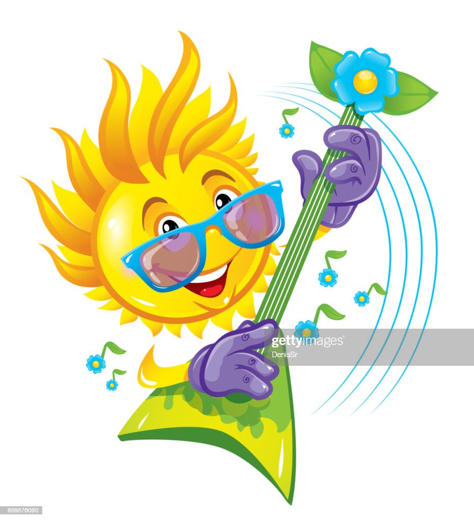 Cartoon rock sun with mohawk from the rays playing the guitar. Funny cartoon character. Vector illustration.