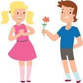 Cartoon romantic boy and girl giving a flower for love