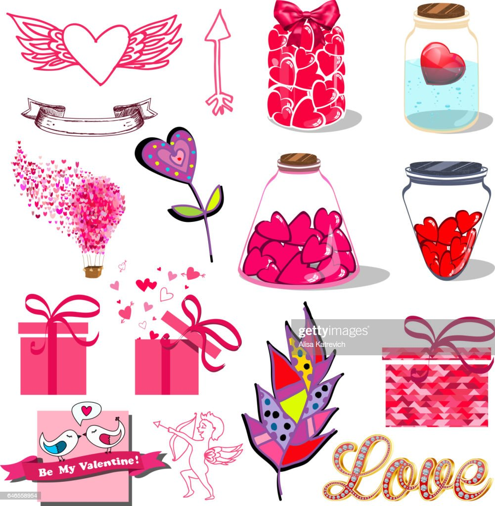 Cartoon Romantic Signs Set For Love And Valentines Day Symbols