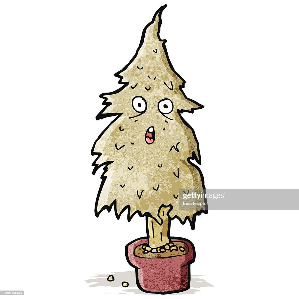 Cartoon Rotten Old Christmas Tree Vector Art | Getty Images