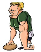 Cartoon Rugby player with a ball, isolated on white
