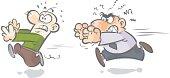 Cartoon running characters.
