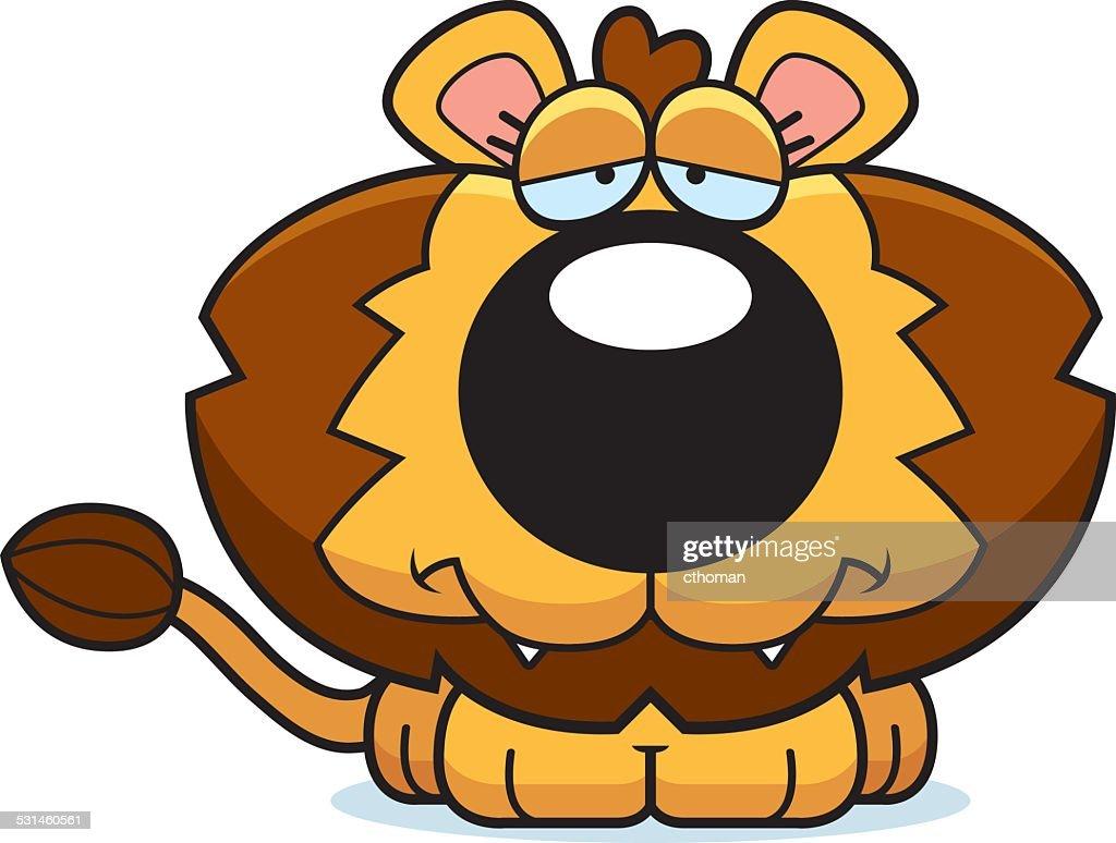 Cartoon Sad Lion Cub