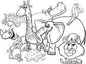 cartoon safari animals coloring page