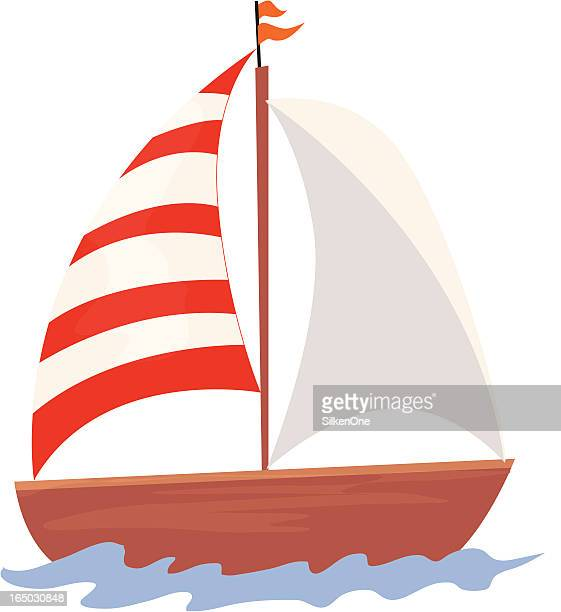 Cartoon sailboat with one white and one red and white sail