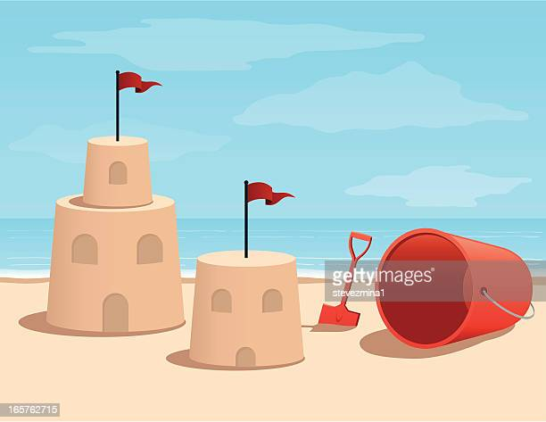 illustrazioni stock, clip art, cartoni animati e icone di tendenza di fumetto castello di sabbia sulla spiaggia - sabbia
