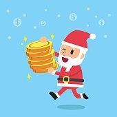 Cartoon santa claus holding money coins