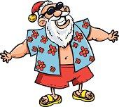 Cartoon Santa on vacation
