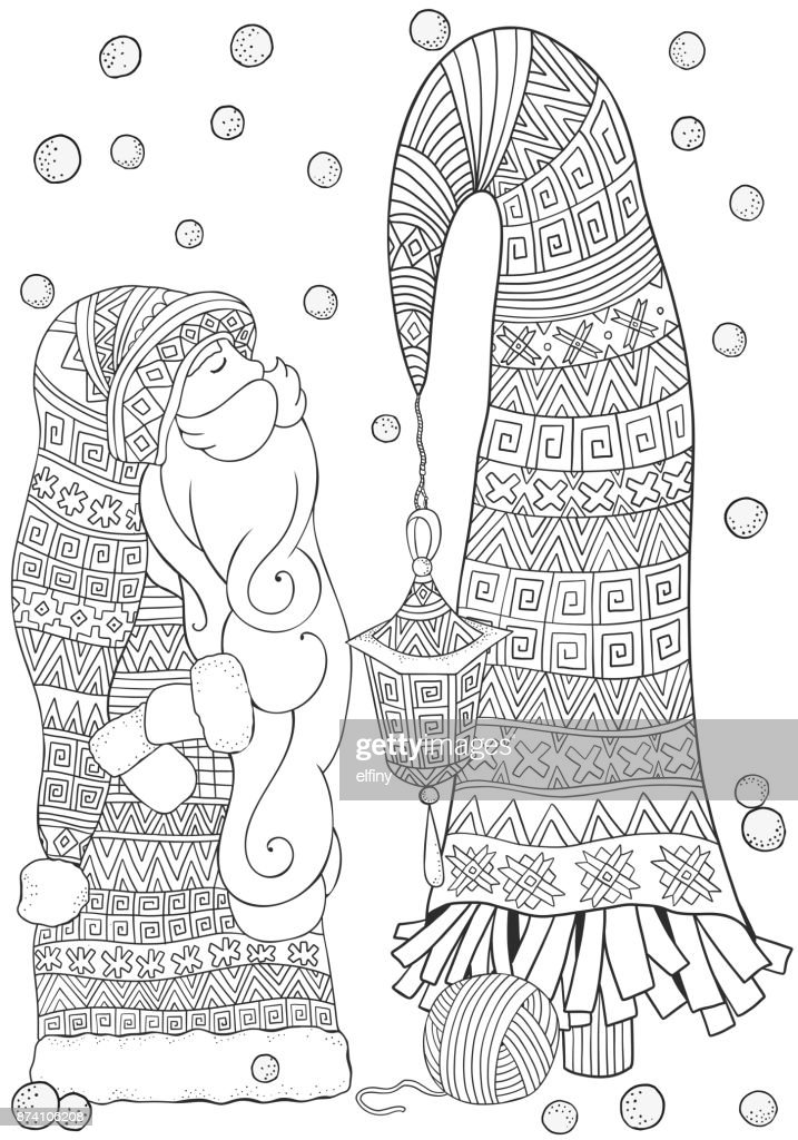Merry Christmas Set Of Xmas Hand Drawn Decorative Elements In Vector Pattern For Adult Coloring Book Page Black And White Doodle Style
