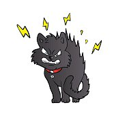 cartoon scared black cat
