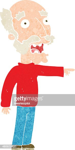 Cartoon Scared Old Man Pointing stock vector - Getty Images