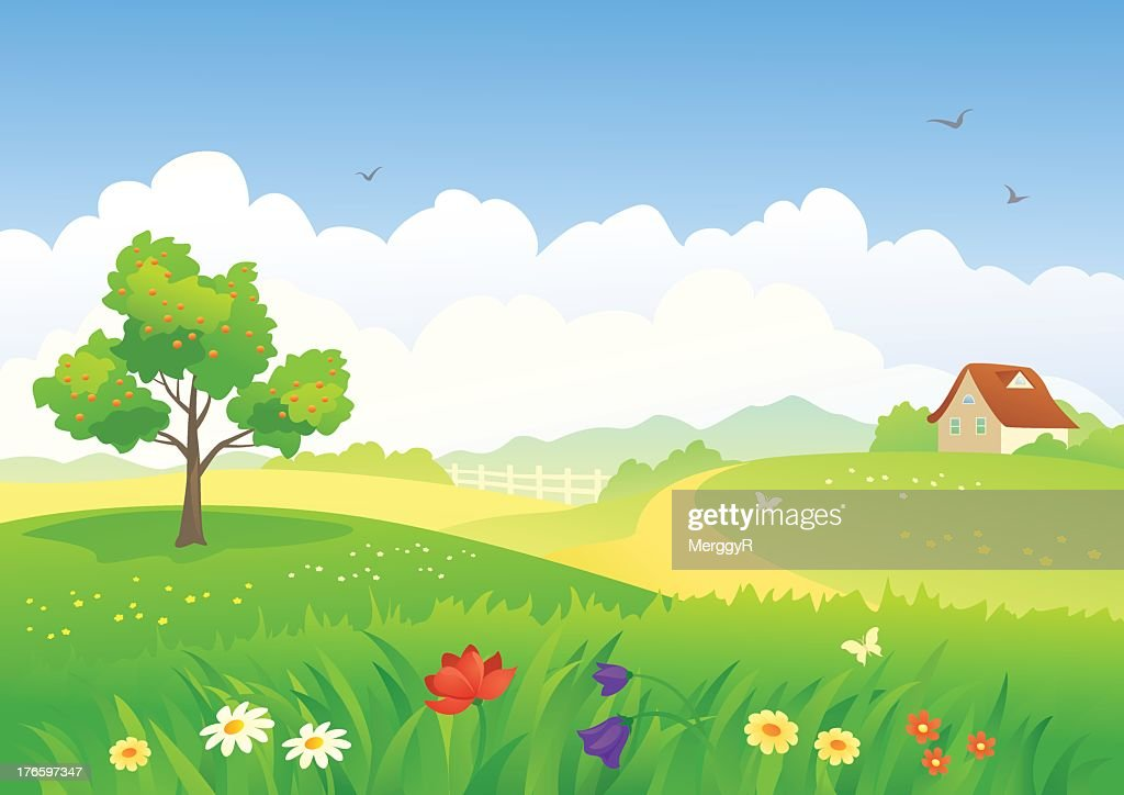 A cartoon scene set in a field with a house