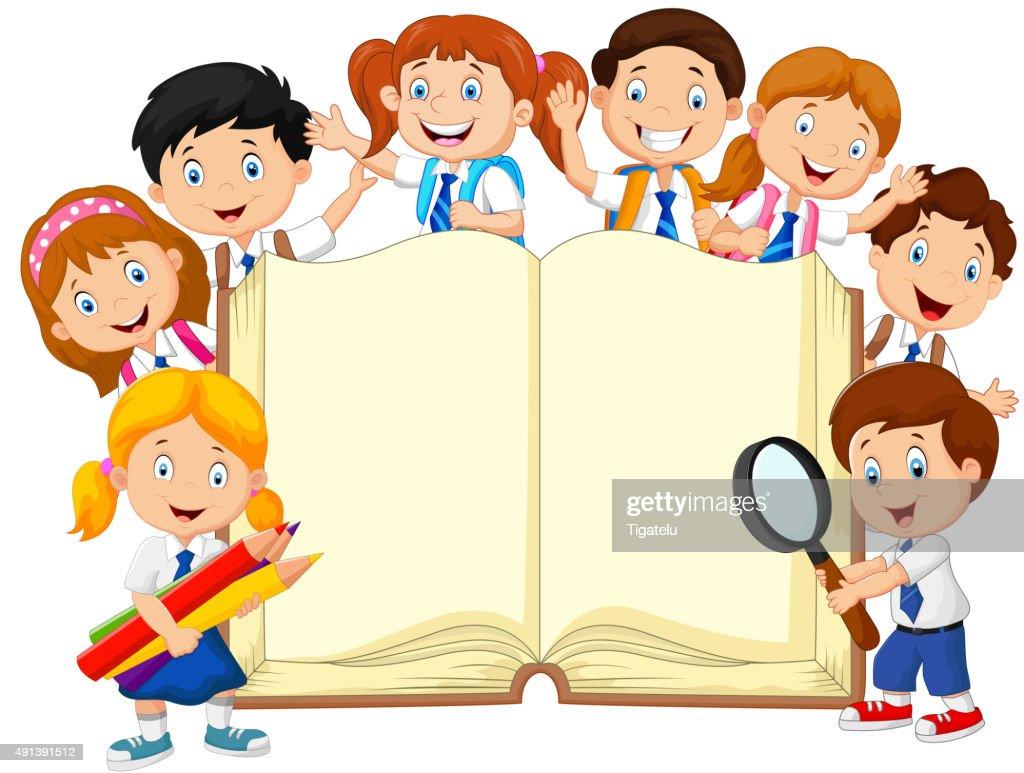 Cartoon school children with book isolated