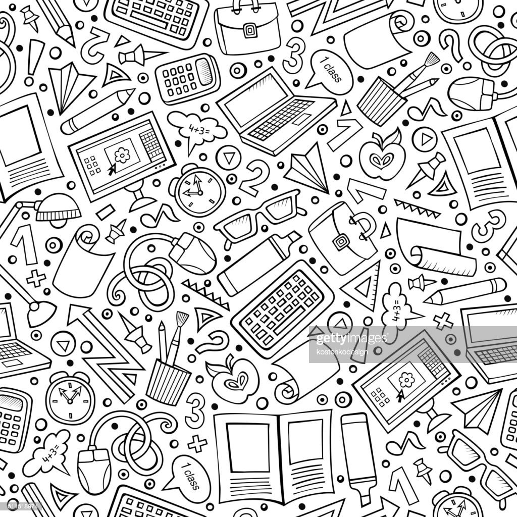 Cartoon School seamless pattern