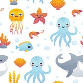 Cartoon sea animals pattern