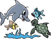 Cartoon sea animals playing in water vector illustration