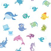Cartoon sea animals, seamless pattern. Whale, shark, dolphin and other fish and animals. Vector background illustration.