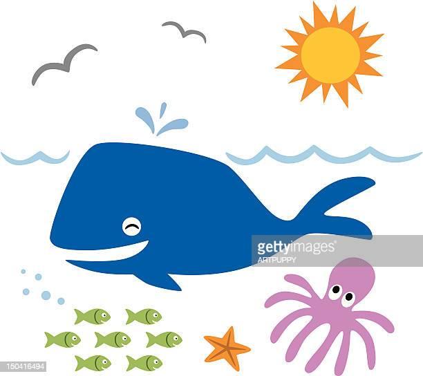 cartoon sea life - blue whale stock illustrations, clip art, cartoons, & icons